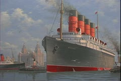 The RMS Mauretania, grand four stacker ocean liner, Cunard ship Stock Footage