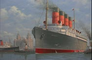 Stock Video Footage of The RMS Mauretania, grand four stacker ocean liner, Cunard ship