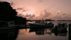 Time Lapse of fishing boats at sunset Florida Keys Stock Footage