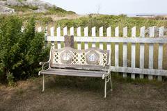 empty wooden bench - stock photo