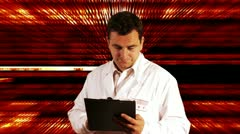 Scientist Checking Documents Binary Numbers Background Stock Footage