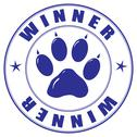 Stamp with paw and inscription - winner Stock Illustration