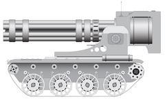 Fantastic gun on crawler - illustration Stock Illustration
