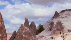 Beautiful time lapse clouds over the rock formations at Cappadocia, Turkey. Stock Footage