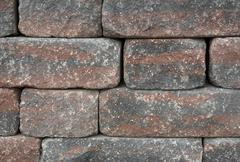 dry masonry wall detail - stock photo