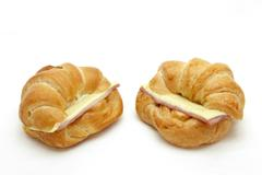 Two ham cheese croissant Stock Photos