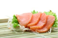 Salmon sashimi salad Stock Photos