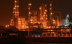 petrochemical oil refinery plant - stock photo