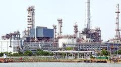 panorama of oil refinery plant - stock photo