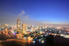 Bangkok skyline aerial view at dusk Stock Photos