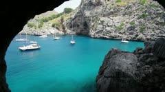 Yachts in beautiful bay Mallorca Stock Footage
