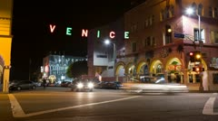 Venice Beach Sign At Night Close HD Timelapse Stock Footage