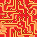 Seamless texture - red circuit board Stock Illustration