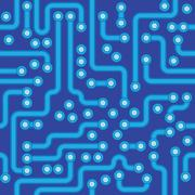 Circuit board - blue abstract seamless texture Stock Illustration