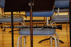 clarinet on chair - stock photo