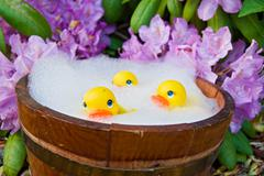 Yellow toy ducks in tub Stock Photos