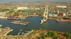 Aerial view on the river port Stock Footage