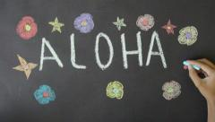 Aloha Hawaii Chalk Drawing Stock Footage