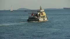 Passenger ship,yachts & speedboats transportation sailing in sea.water surface Stock Footage