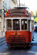 typical red tram - stock photo