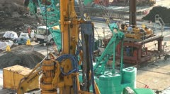 Drill and other machinery at construction site in Tokyo, Japan Stock Footage