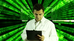 Scientist Checking Documents Numbers Tunnel Background Stock Footage