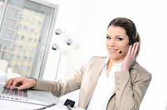 headphones woman - stock photo