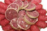 Calorie sausage Stock Photos
