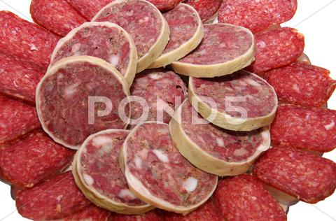 Stock photo of calorie sausage