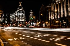 street traffic in night madrid, spain - stock photo