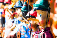 Traditional puppets made of wood. Stock Photos