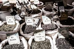 dried herbs flowers spices in the spanish street shop - stock photo