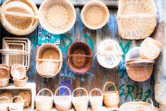 Wooden baskets and caskets on sale in street Stock Photos
