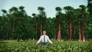 Businessman in Forest Meditating Stock Footage