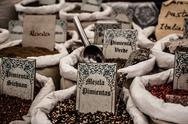 Dried herbs flowers spices in the spanish street shop Stock Photos