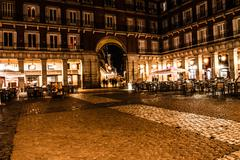 Stock Photo of plaza mayor of madrid at night, spain