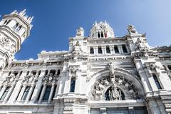 palacio de comunicaciones at plaza de cibeles in the city of madrid, spain. - stock photo