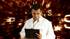 Scientist Checking Documents Scientific Background Stock Footage