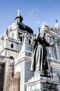 beautiful architecture- cathedral almudena, madrid, spain - stock photo