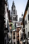 medieval streets of toledo, spain - stock photo