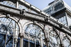 madrid palacio de cristal in retiro park glass crystal palace spain - stock photo