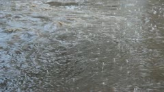 Brown floodwater with rain Stock Footage