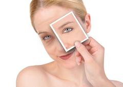 beauty eye wrinkle makeover - stock photo