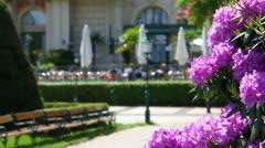 Park scene with garden restaurant Stock Footage