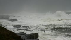 Big storm waves crushing on the cliffs. Stock Footage