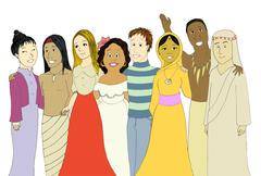 Young people from very different cultures & nationalities - stock illustration