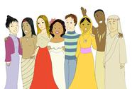 Stock Illustration of Young people from very different cultures & nationalities