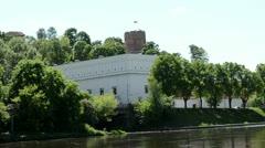 Gediminas castle tricolor lithuania flag. river neris flow Stock Footage