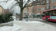 Red bus in winter. Stock Footage