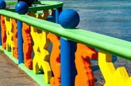 Colorful Bridge Railing Stock Photos